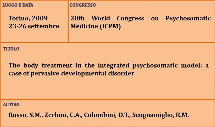 8-The body treatment in the integrated psychosomatic model a case of pervasive developmental disorder