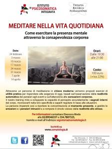 Locandina A4 corso di meditazione a Milano 2014